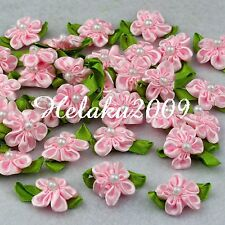 60pcs pink satin ribbon beaded flower with leaf appliques