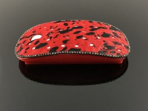 blingustyle Real Fur Leather with Sparkly Crystal Optical Wireless PC Mouse Red