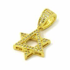 "of David Pendant 1.5mm/24"" Box Chain Necklace Mens 14k Gold Tone Micro Cz Star"