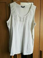 "GEORGE MODA WOMENS SLEEVELESS TOP WHITE SIZE 20 COTTON PIT TO PIT 21 "" STRETCH"