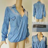 KALEIDOSCOPE Women Wrap Style Soft Denim Top Blouse Size 16 Blue Long Sleeve