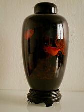 Grand vase en Laque d'Extrême Orient avec son socle