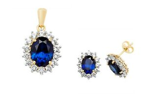 Sapphire Pendant and Earrings Set Solid Yellow Gold White sapphire Cluster