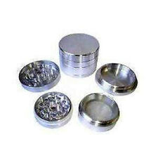 50 MM HERB GRINDER 4PC SILVER METAL POLLGRINDER NEW UK CHEAPEST