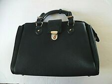 Dasein Womens' Black Pebbled Handbag Front Snap Lock