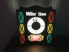 Vintage 70's Miller Time Miller High Life Stained Glass Lighted Clock. Rare!