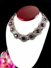 EXCEPTIONALLY RARE 1920-30'S NAPIER AMETHYST RHINESTONE CHOKER FLORAL NECKLACE