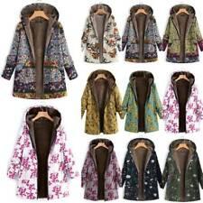 Women Winter Warm Hooded Boho Floral Jacket Outwear Parka Fleece Coat Plus Size