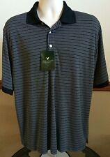Men's Lyle & Scott Black Gray Striped Performance Polo Golf Shirt Size L NWT's