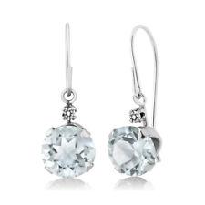 1.53 Ct Round Sky Blue Aquamarine White Diamond 14K White Gold Earrings