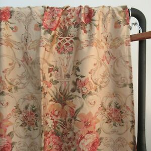 "Ralph Lauren GUINEVERE Medieval Beige Floral Shower Curtain Cotton Sateen 70x70"""