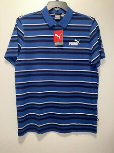 Puma Men's Essentials Striped J Polo Shirt  Palace Blue Size Large NWT