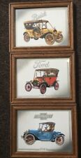 Three Handmade Framed Cutouts of Cars: Buick, Ford, and Chevrolet