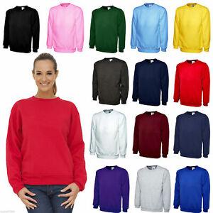 Womens Ladies Sweatshirt Girls Sweatshirt Unisex Loose Fit Premium Plain S-5Xl