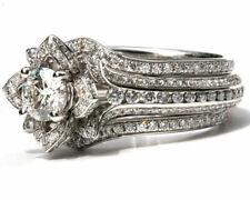 Gold Lotus Shape Fabulous Trio Ring Set 3 Ct Round Moissanite Diamond 14k White