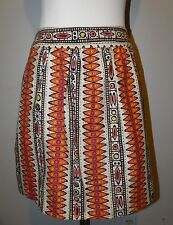 TRINA TURK A-Line Skirt Pockets Multi-Color Geometric Art Deco Pattern Size 2