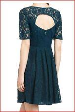 BCBG MAXAZRIA JULYA DARK TEAL COMBO LACE CUTOUT BACK DRESS 0P NWT $298-RackR/75