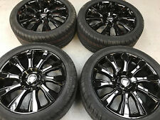 """20"""" TURBINE GLOSS BLACK ALLOY WHEELS+TYRES TO VW T5 T6 SET OF 4"""