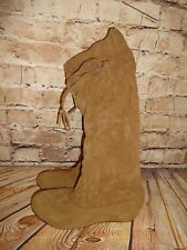 Women's Brown Faux Suede Fabric Knee Boots Size 6 NEW