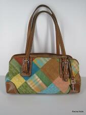 FOSSIL M Tan Leather Blue Green Multi Plaid Canvas Suede Patchwork Purse Handbag