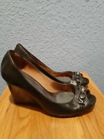 COACH 6.5 BLACK Pumps Open Toe Wedge Heels Patent Leather Shoes pre owned