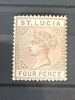 St Lucia stamp QV 4d brown MH