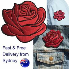 Bright red rose head Iron on patch  - red shining love flower blossom embroidery