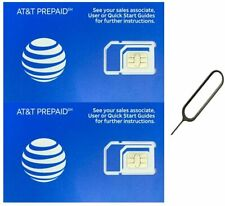 (2 Pack) Authentic At&T Att Sim Card Micro/Nano/Standard Gsm 4G/3G/2G Lte Prepai