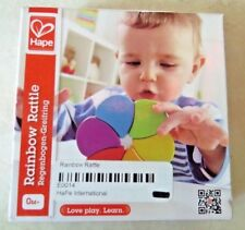 Brand New Hape Rainbow Rattle Wooden Toy Gift Bright Colours Baby Toddler Child