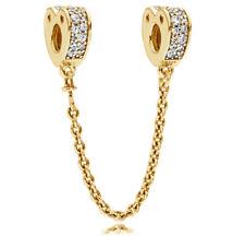 Genuine PANDORA Sparkling Arcs of Love Safety Chain 14K Gold Vermeil 797138CZ