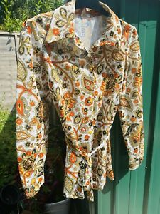 Vintage 60s Womens Paisley Shirt Size 12/14 Brown Orange