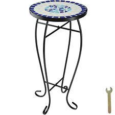 Balkontisch Blumenhocker Mosaik Mosaiktisch Tisch Gartentisch Rund Blau-Weiß