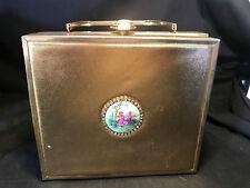 Vtg Tyrolean Gold Metallic Metal Box Purse Clutch Handbag Medallion Rhine Stones
