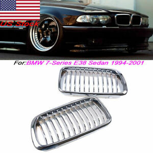 Pair Front Kidney Grilles Cover Fits BMW 7-Series E38 Sedan 740i 740iL 1994-2001