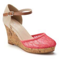 New Women's 10 M Bright Pink/Neutral Lace Wedge Platform Sandals by Apt. 9  #m