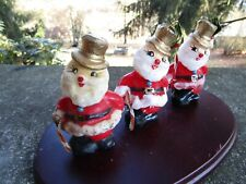 3 x Vintage Christmas Candle- Santa Claus- with Cane- Hat- Ivy ~ 3.75� H