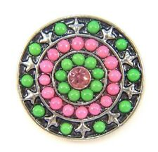 Noosa Style Chunks Ginger Snap On Jewellery Button Charms Beaded Green 18mm 003
