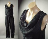 Black Crochet Lace Cowl Neck Casual Pant Suit Jumper 297 mv Jumpsuit 1XL 2XL 3XL