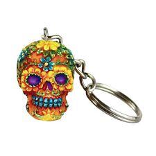Hand Painted Polyresin Floral Sugar Skull Key Chain - Orange