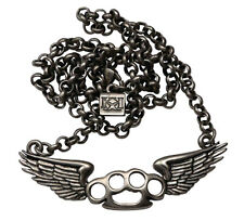 Flying Knux Brass Knuckles Pendant Chain Necklace Gun Metal Kitsch 'n' Kouture