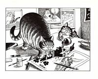 Cats In Art Studio Spilling Ink paw Prints Kliban Cat Print Black White Vintage