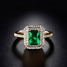 Lady Engagement Gold Filled Princess Green Emerald Crystal Eternity Halo Ring