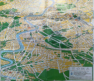 Vintage Illustrated MAP~Pictorial Guide McDONALD'S~ROME,ITALY Travel+Tourism 70s