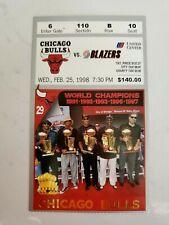 RARE 1998 Chicago Bulls Ticket Stub vs Blazers 2/25.1998 - LAST DANCE