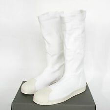 RICK OWENS x ADIDAS white stretch bonded leather shoes superstar boot 6.5-us NEW