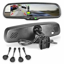 """Rear View Mirror with Ultra Bright 4.3"""" LCD Display + 4 Parking Sensors Kit"""
