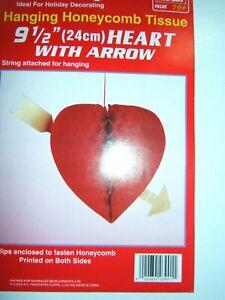 "VALENTINES 9.5"" 24cm HANGING FOLDING HONEYCOMB TISSUE RED LOVE HEART CUPID ARROW"