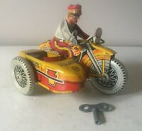 VINTAGE MARX USA POLICE MOTORCYCLE & SIDECAR WIND UP TINPLATE LITHOGRAPH SIREN