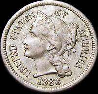 1888 Copper Nickel Three Cent Piece 3cp ----  Type Coin ---- #T045
