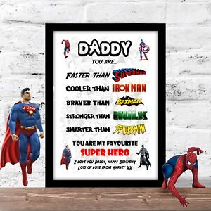 Birthday gift for DAD DADDY STEPDAD personalised Super hero A4 PRINT